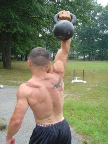 Kettlebell & bodyweight training at the park. My buddy & I used to do this EVERY weekend.