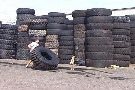 Tire Flipping At The Edison Tire Yard Back In The Day.....