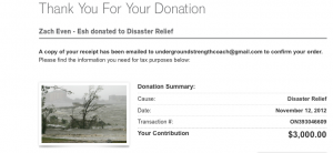 Hurricane Sandy Disaster Relief Fundraiser Results