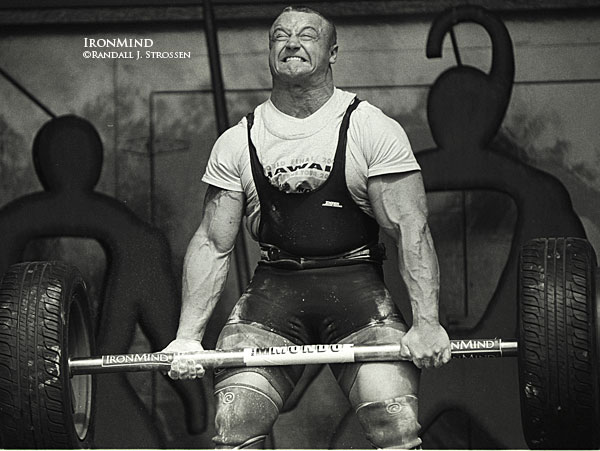 Photo from IronMind.com of Mariusz Pudzianowski Performing Axle Deadlifts