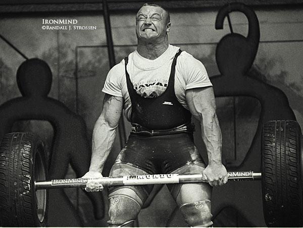 Photo from IronMind.com of Mariusz Pudzianowski Performing Axle Deadlifts