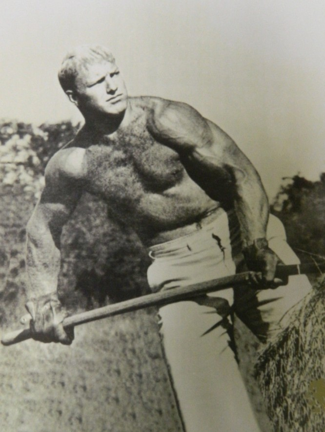 Bobby Hull, 23 year NHL veteran, working on his Farm.